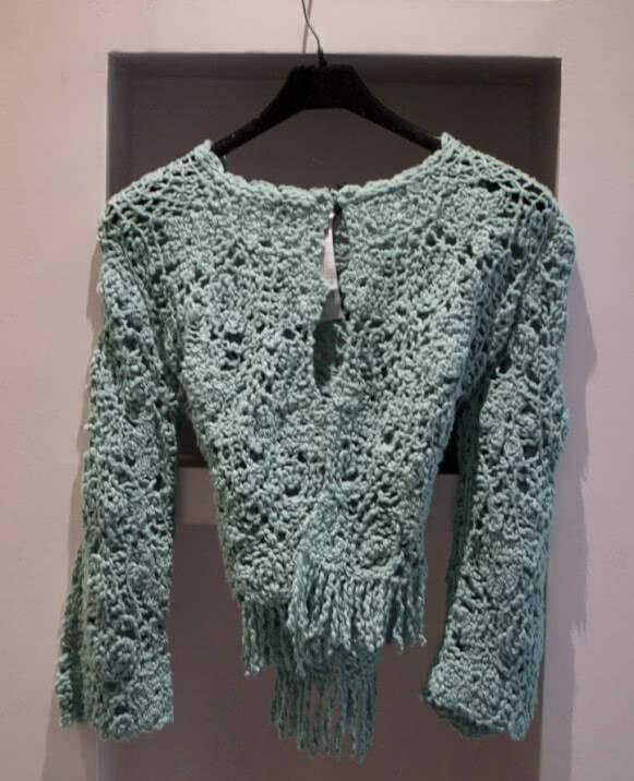 Bolero lana calado, detalle flecos