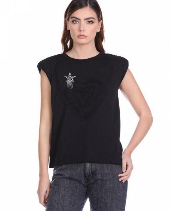 Camiseta XIUT con corazón de tul y parche de estrella RELISH