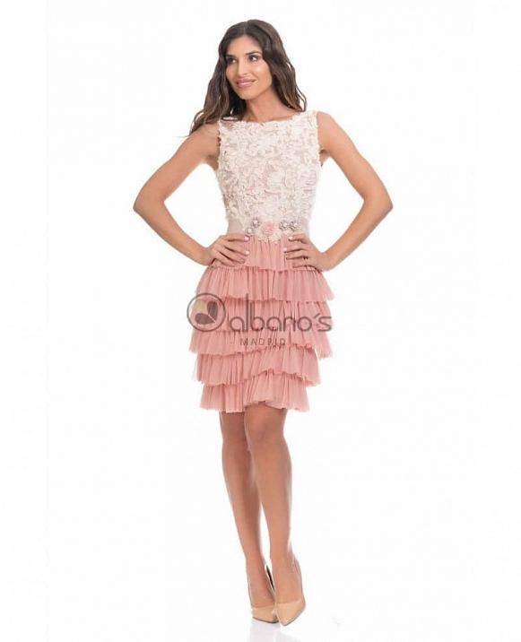Vestido Corto Falda Volantes Tul