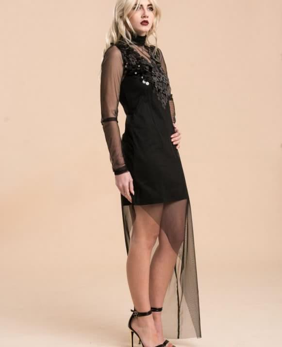 Vestido largo asimétrico tul