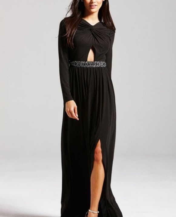 vestido largo detalle cintura manga larga