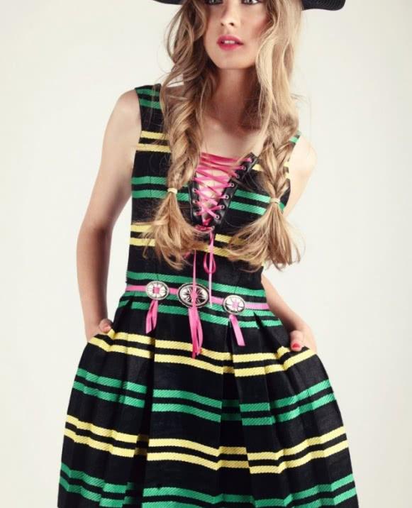 Vestido rayas cordon