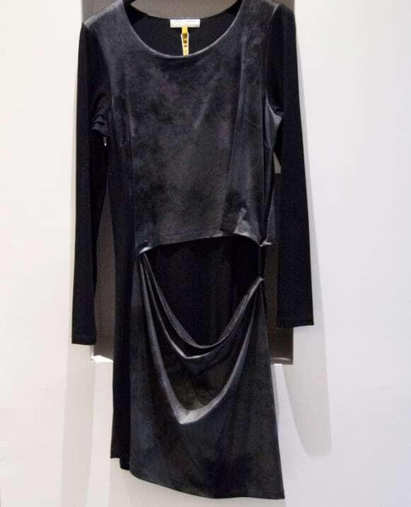 Vestido tejido combinado, efecto roto